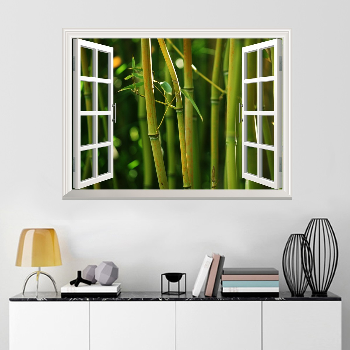 Removable 3d landscape window wall stickers 3d wall art for Very cheap wallpaper uk